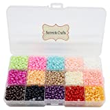 4500pcs 5mm Mixed 15 Colors Half Pearl Bead Flat Back Gem Plastic Box 1box