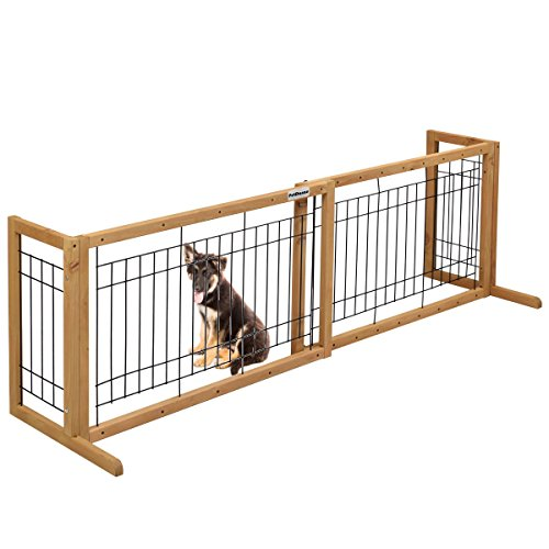 Cheap PetDanze Free-Standing Pet Gates | Extra Wide Indoor Small Dog Gate | Expandable Puppy Safety Gate | Wooden Long Door Pet Gate | 40″ to 71″ Adjustable