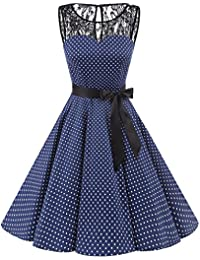 Womens 1950s Vintage Rockabilly Swing Dress Lace Cocktail Prom Party Dress