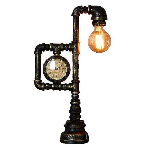 SHIJIAN Lámpara de Mesa Vintage, Retro de Hierro Industrial Tubos ...