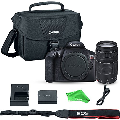 Canon EOS Rebel T6 Digital SLR Camera with EF 75-300mm f/4-5.6 III Lens + Canon 9320A023 100ES Shoulder Bag (Black) + DigitalAndMore Microfiber Cloth