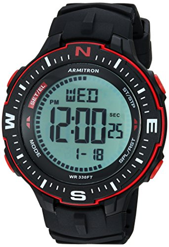 Armitron Sport Men's 40/8391BRD Red Accented Digital Chronograph Black Silicone Strap Watch
