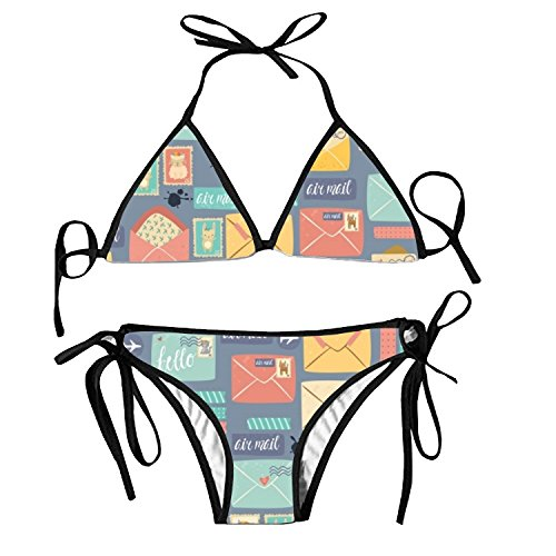 Adorable Women's Pattern Postal Stationery Sweet Swimsuit Set