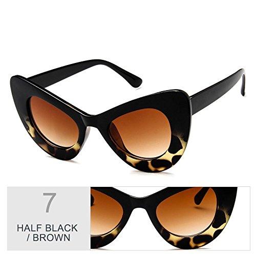 de Vintage Sunglasses TL de sobredimensionado Gato Brown Multi gafas Half sol mujer Ojo sol gris mujer Black de gafas RqPHqn1xw