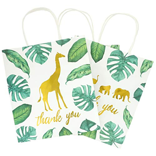 Juvale 12-Pack Jungle Safari Animal Thank You Kraft Gift Bags and 20 White Tissue Sheets for Baby Shower, 9 x 8 x 4 Inches]()