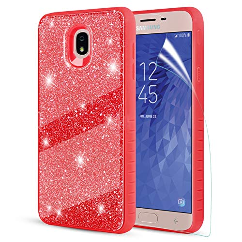 Compatible with Samsung Galaxy J7 2018 Case,Galaxy J7 Refine Phone Case,Galaxy J7 Star Phone Case/J7 Aura Case W/Screen Protector,TPU Bumper+PC Protective Shockproof Bling Stylish for Girls Women,Red