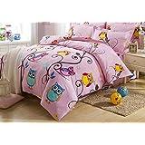 Cliab Pink Owl Bedding Girls Twin Size Duvet Cover Set 5 Pieces 100% Cotton