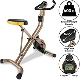 Exerpeutic Gold Heavy Duty Foldable Exercise Bike with 400 lbs Weight Capacity