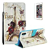 Sparkle Diamond Case for iPhone XS Max 6.5 inch [with Free Screen Protector],Funyye Elegant Premium Folio 3D Patterns PU Leather Soft Wallet Magnetic Flip Cover with [Wrist Strap] and [Built-in Credit Card Slots] Color Painted Pattern Design Stand Function Case for iPhone XS Max 6.5 inch,Tower