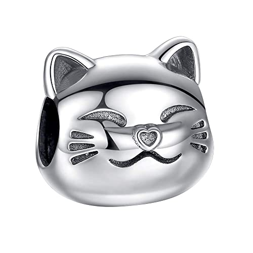 e6fe36b02 ANGELFLY Lucky Cat Charms for Pandora Bracelets 925 Sterling Silver Cute  Animal Pet Cat Charm Beads