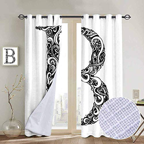 Classic Complete Alphabet - NUOMANAN Bedroom Curtains 2 Panel Sets Letter B,Black and White Abstract Swirls Classic Design Alphabet Uppercase B Symbol Print,Black White,Complete Darkness, Noise Reducing Curtain 52