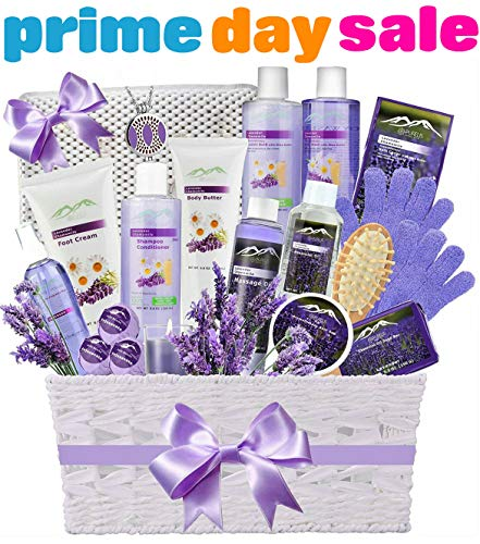 (Premium Deluxe Bath & Body Gift Basket. Ultimate Large Spa Basket! #1 Spa Gift Basket for Women- Deluxe Aromatherapy Lavender Spa Kit + Luxury Bath Pillow! )