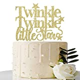 Gold Glitter Twinkle Twinkle Little Stars Cake Topper - for Baby Shower/Gender Reveal / 1st Birthday Party Decorations