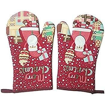 Kangkang@ Oven Mitt 1 Pair Christmas Gloves for microwave heat insulation