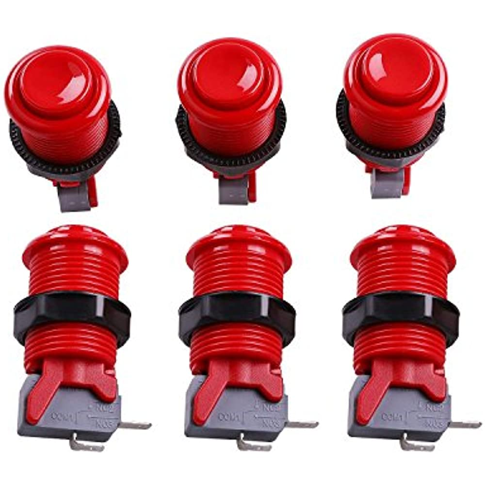 6 Pcs//lot HAPP Type Standard Arcade Push Button with Microswitch 30MM Black