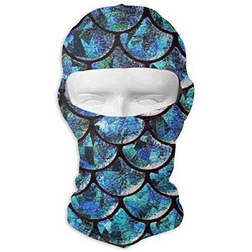 Leopoldson Turquoise Blue Mermaid Tail Patterns Balaclava UV Protection Windproof Ski Face Masks for Cycling Outdoor Sports Full Face Mask Breathable ()