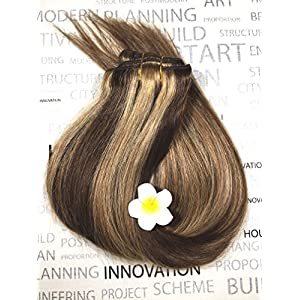 Medium Brown Human Hair Extensions Clip in 4/27 Highlighted Clip on Balayage Ombre Hair Extensions 20 inch 7 PCS Full Head Silky Straight Long Fine Hair 70g Remy Hair