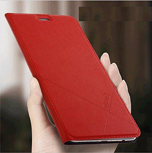 Hua Wei Honor 8 Caso Cubierta , Yooky Superior de la PU cubierta del teléfono, del estilo del negocio de lujo del cuero genuino del tirón Shell protector por Huawei Honor 8 caja de la carpeta Red