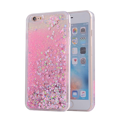 iPhone 6S Case, SAUS iPhone 6 Case, Funny Liquid Infused with Floating Bling Glitter Sparkle Dynamic Flowing Hybrid Bumper Case for iPhone 6/6S (Pink)