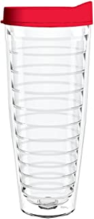product image for Smile Drinkware USA-Clear 26oz Tritan Insulated Tumbler with Red Lid and Straw