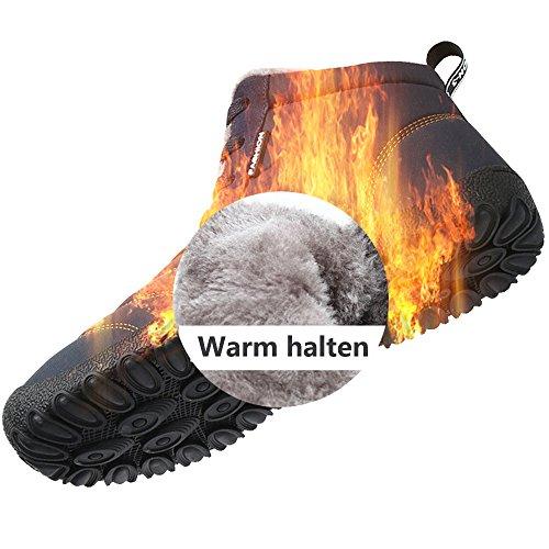 JACKSHIBO Herren Damen Outdoor Winter Wärme Stiefel Bequem Wasserdichte Winterstiefel Rutschfeste Schneestiefel Schwarz