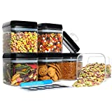 Hangoes Airtight Food Storage Containers - 6 Piece Set Plastic Containers 34.2 Oz + 20 FREE Chalkboard Labels & 1 Liquid Chalk Marker, BPA Free, Clear Plastic with Black Lids, Keep Food Dry & Fresh