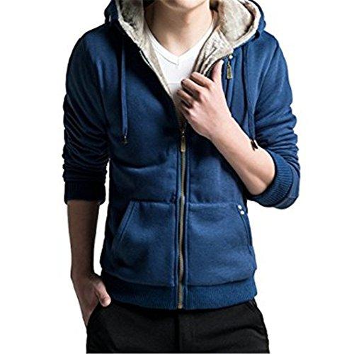 Faux Fur Hoody Hoodie Sweater - Men's Casual Faux Fur Hoodies Outwear Sweatshirt L Blue