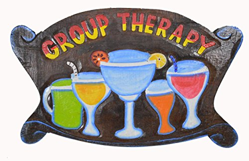 WorldBazzar Hand Carved Wooden Brown Colorful Group Therapy Cocktails Drinking Tiki Bar Sign
