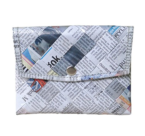 Snap button coin purse using daily newspaper - Free standard shipping - Upcycling by Milo