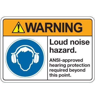 Aluminum ANSI Safety Sign - Warning Loud Noise Hazard - 14