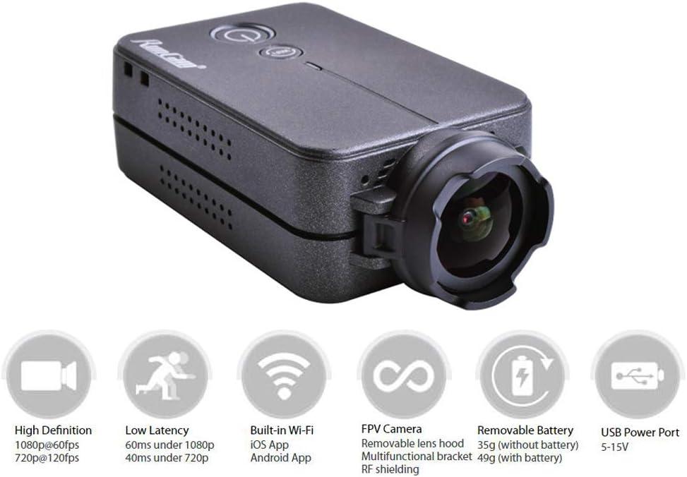 Makerfire Cámara RunCam 2 FPV 1080P 60fps HD Mini cámara Deportiva de acción FOV 120 Grados Wi-Fi Incorporado iOS / Android APLICACIÓN NTSC PAL Cámara de Drone de Carreras conmutable Negro: Amazon.es: