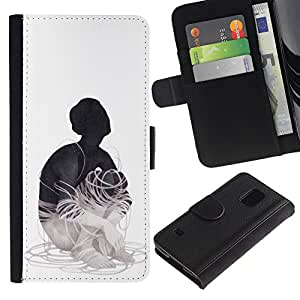 LECELL--Cuero de la tarjeta la carpeta del tirón Smartphone Slots Protección Holder For Samsung Galaxy S5 V SM-G900 -- Cableado --