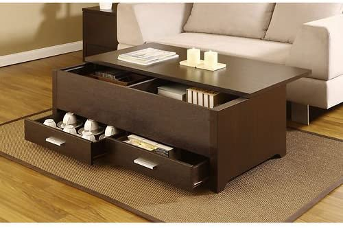 Knox Coffee Table. This Contemporary Storage Box Table Combines Plenty of Space and a Sliding Table Top Panel. This Dark Espresso Coffee Table Has 2 Drawers and a Sliding Top Panel