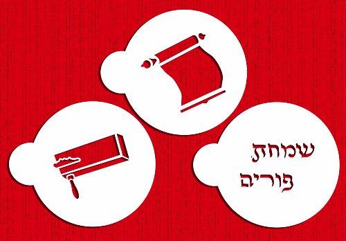 Designer Stencils C204 Three Purim Symbols Cookie Stencils, Meglliah - Happy Purim (Hebrew) - Gragger, Beige/semi-transparent