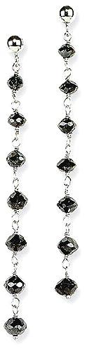 ICE CARATS 14k White Gold Black Diamond Briolette Post Stud Earrings Drop Dangle