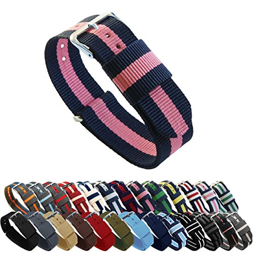 BARTON Watch Bands - Choice of Color, Length & Width - Navy/Pink 20mm - Standard Length