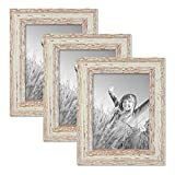 Cheap PHOTOLINI Set of 3 Picture Frames with Dimensions of 6 x 8 Inch, in White, Shabby-Chic, Vintage, Solid Wood, Including Accessories/Photo Frames