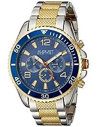 August Steiner Men's AS8119TTG Swiss Quartz Multifunction Blue Dial Two-Tone Bracelet Watch