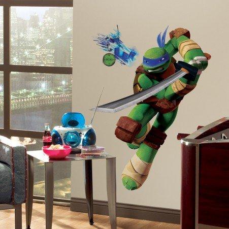 [Roommates Decor Sticker Teenage Mutant Ninja Turtles Leonardo Giant Wall Decal] (Teenage Mutant Ninja Turtles Giant Wall Decal)