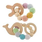 Jili Online 2 Pieces Handmade Rabbit Whale Design Wooden Kid Teether Bracelet Crochet Bead Teething