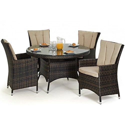San Diego Baby Rattan Gartenmöbel braun 4-Sitzer-Tisch rund Set ...