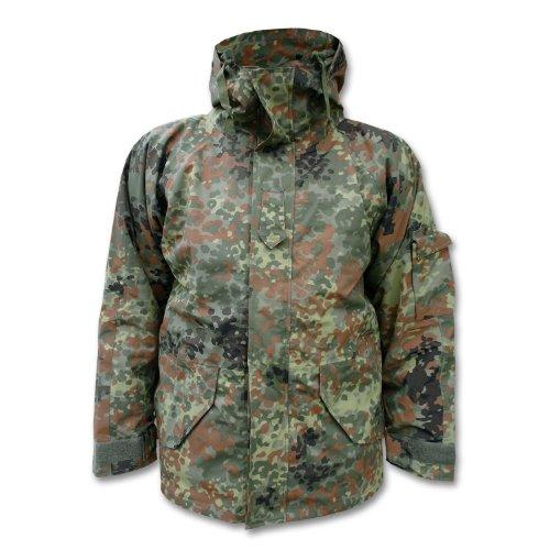 Camooutdoor Men's Army Waterproof ECWCS Hooded Jacket Smock Parka Fleece Flecktarn Large Green