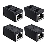 SOFT&COM RJ45 Coupler, 4 Pack Cat6 Coupler, Ethernet Cable Extender Adapter, Ethernet Coupler for Cat7 Cat6 Cat5e Ethernet Cable Coupler Network Coupler (Black-4 Pack)