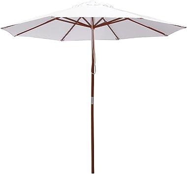 9/' 13/' Outdoor Patio Wood Umbrella Wooden Pole Market Beach Garden Sun Shade