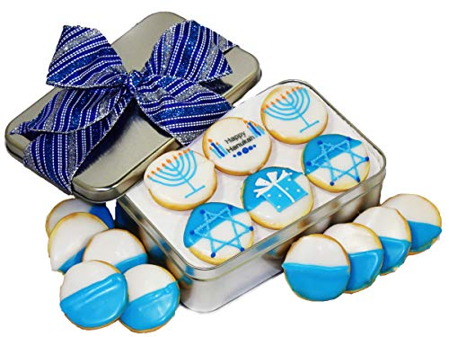 Hanukkah Cookie gift basket Tin filled with 18 individually hand decorated Hanukkah designed blue colored black and whites. certified Kosher Great Gift idea for MEN WOMEN BOYS GIRLS PRIME DELIVERY