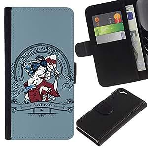 Billetera de Cuero Caso del tirón Titular de la tarjeta Carcasa Funda del zurriago para Apple Iphone 6 4.7 / Business Style Sexy Geisha Japanese Woman Apparel