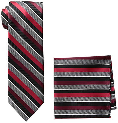 Pierre Cardin Men's Stripe Tie and Pocket Square, N8147A-Black/Red, One Size