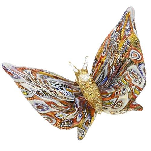 - GlassOfVenice Murano Glass Golden Quilt Millefiori Butterfly