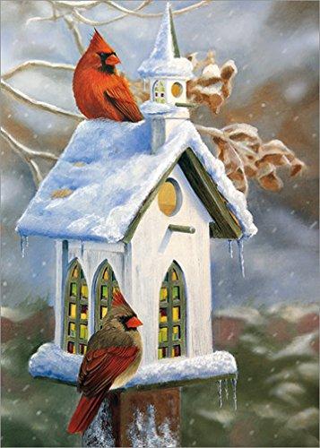 Victoria Cellars (Cardinals and Church Birdhouse: Victoria Wilson-Schultz - LPG Box of 18 Christmas Cards)