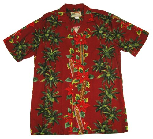 Men's Surfboard Christmas Hawaiian Aloha Shirt in Christmas Red